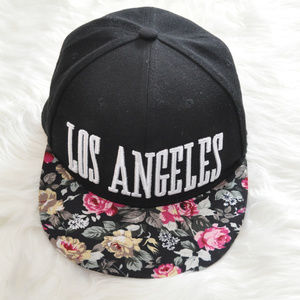 Urban Outfitters Black Floral LA Snap Back Cap OS